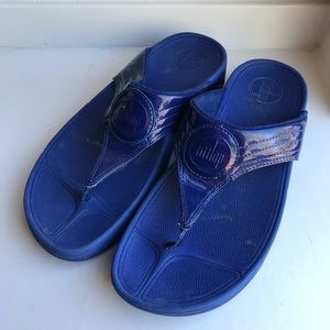 FitFlop sandals blue patent leather flip flops